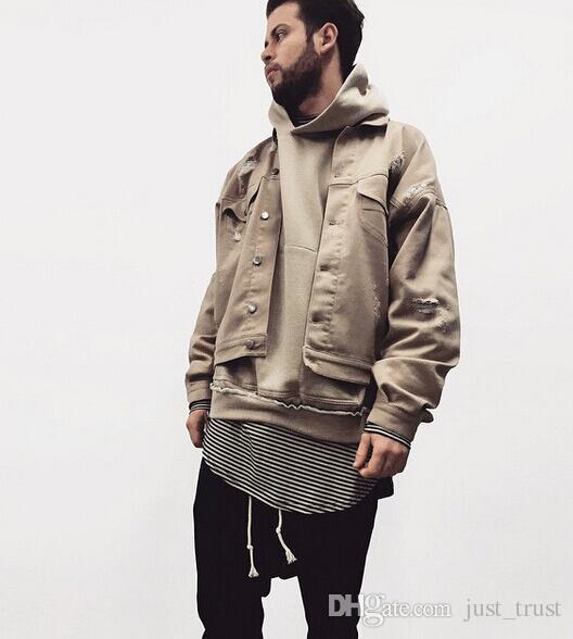 be3cc351e HOT Sale Jackets Hoodie Clothes Camel Beige Worn Hanging Shoulder Solid  Color Men Casual Denim Jacket Green And Black Jacket Leather Jacket Fur  From ...