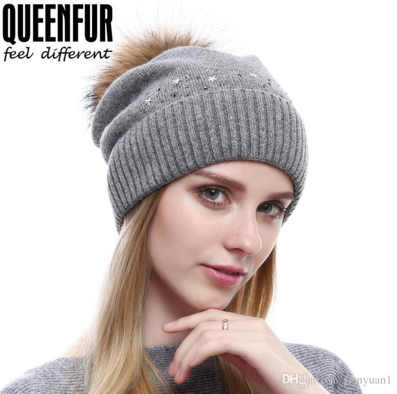 5f41b2ed939ea Fashion Outdoor Sports Cashmere Knitted Hat For Women Autumn Winter Hair  Ball Cap With Rhinestone Caps Beanies For Women Beanie Cap From Jianyuan1
