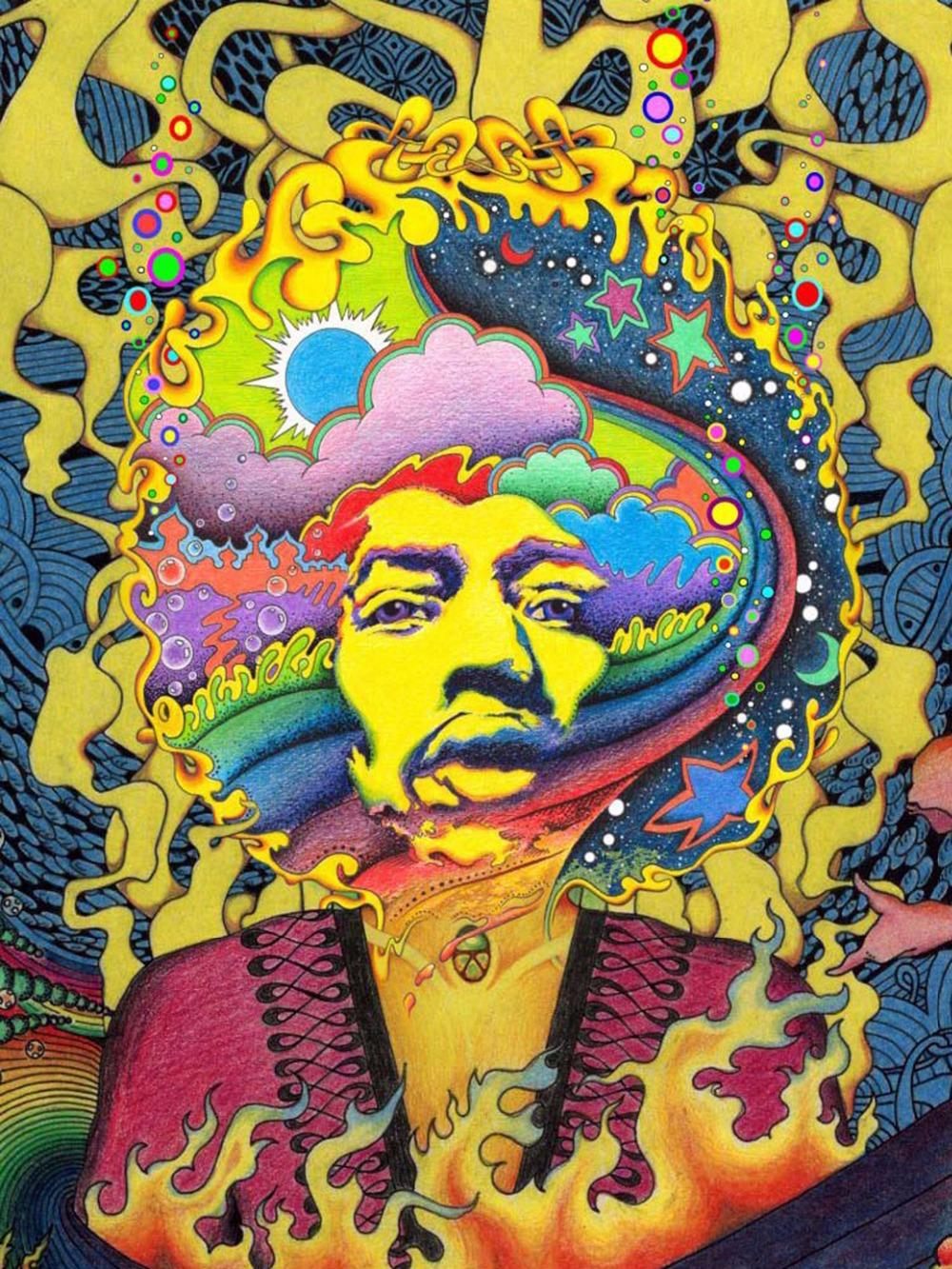 2019 Psychedelic Trippy Art Fabric Poster 32 X 24 17 X 13