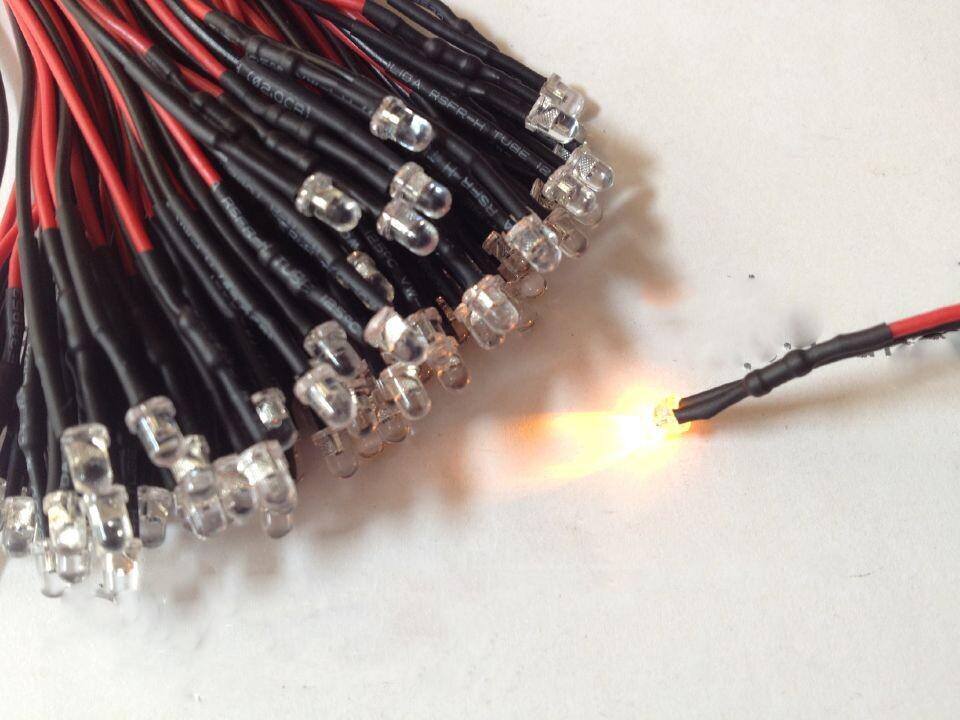 100 قطعة 12V ضوء الخرز السوبر مشرق المصابيح 3MM 5MM Prewired لون ثابت لون واحد اللمعان أصحاب الأسود متعدد الألوان