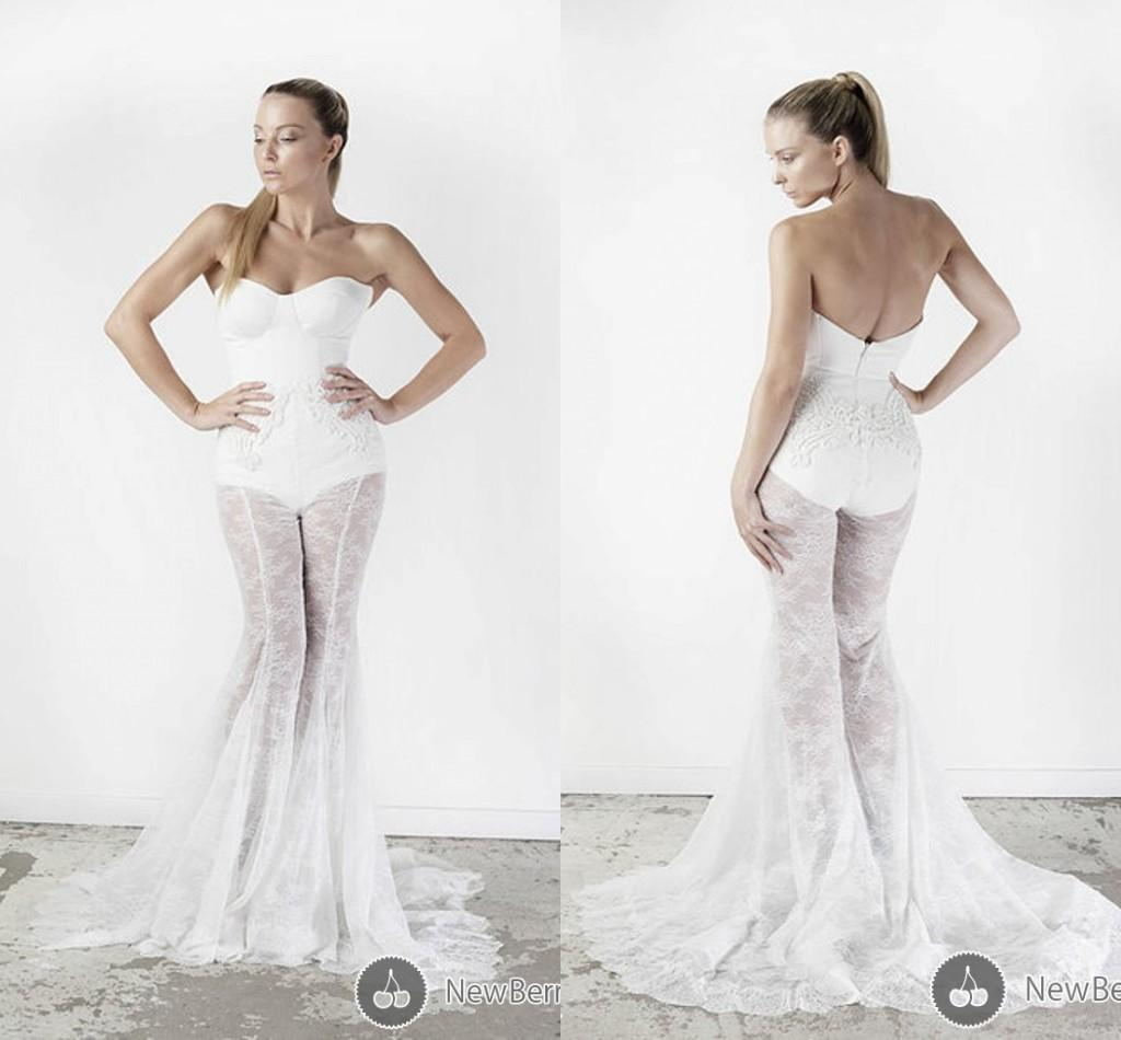 Unique sexy mermaid wedding dresses applique lace applique for Sexy lace wedding dresses