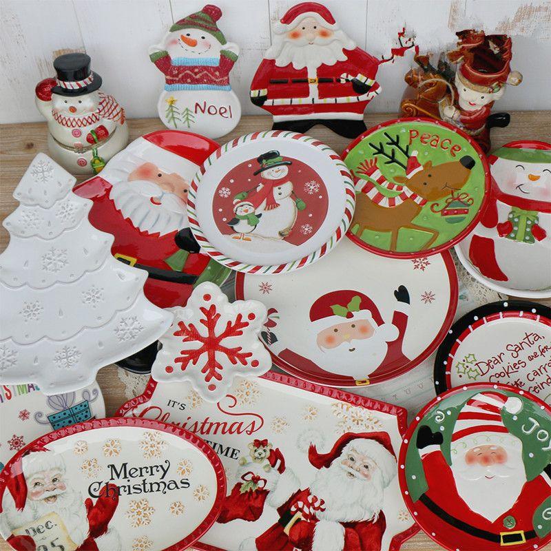 2018 Cartoon Porcelain Dish Cute Christmas Dinnerware Creative Kids Ceramica Dinner Plate From Jewelry520wholesale $43.22 | Dhgate.Com & 2018 Cartoon Porcelain Dish Cute Christmas Dinnerware Creative Kids ...
