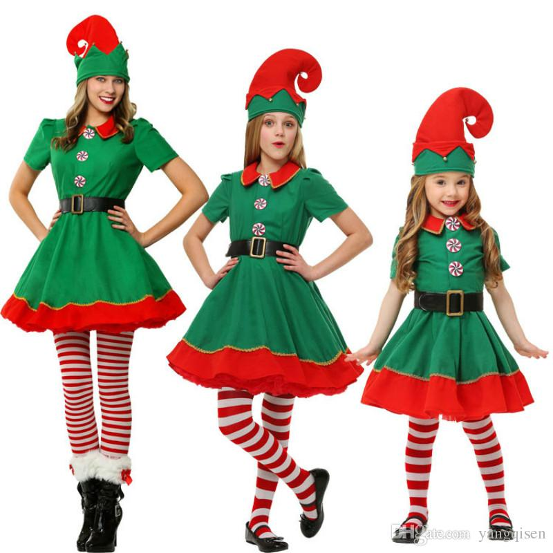 Christmas Elf Costume.Christmas Elves Cosplay Costumes Women Men Christmas Costume Long Sleeve Green And Red Girl Elf Dress Kids Weihnachtskostum
