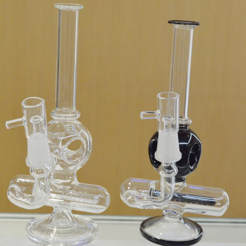 """Clear Black Bongs Inline Perc Orb Diffuser Concentrate Bubbler Water Pipes 8"""" Two Function Oil Rigs Straight Dab Glass with Titanium Nail"""