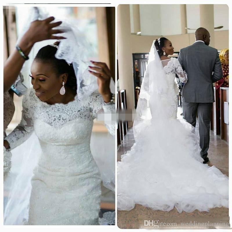 Mermaid africano maniche lunghe abiti da sposa Vintage Custom Made Appliques sposa pizzo treno da sposa 2017 economici in vendita