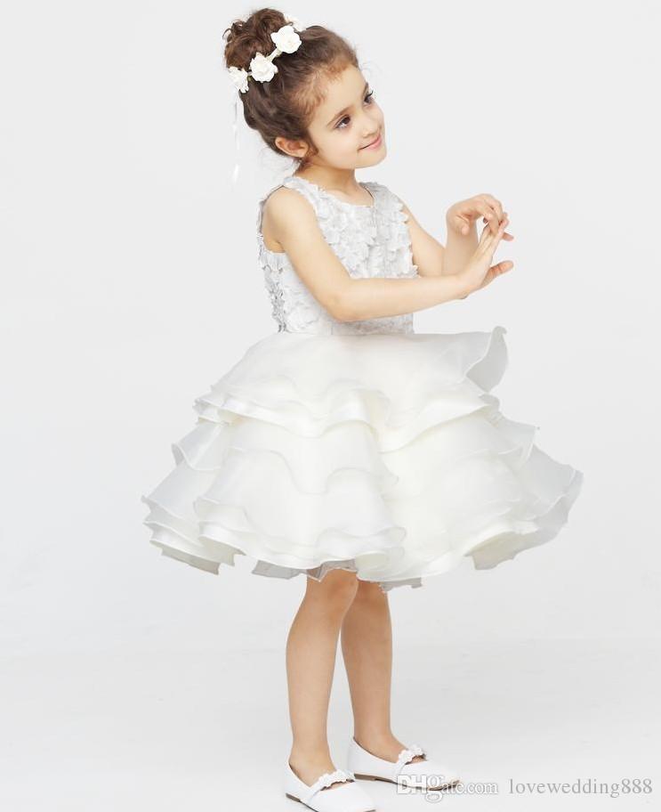 Freies Verschiffen neue Qualitäts-handgemachte Blumen Kinderprinzessin Kleid Weiße Mädchen kleiden Blumen-Mädchen Kleider Prinzessin-schönes Kleid