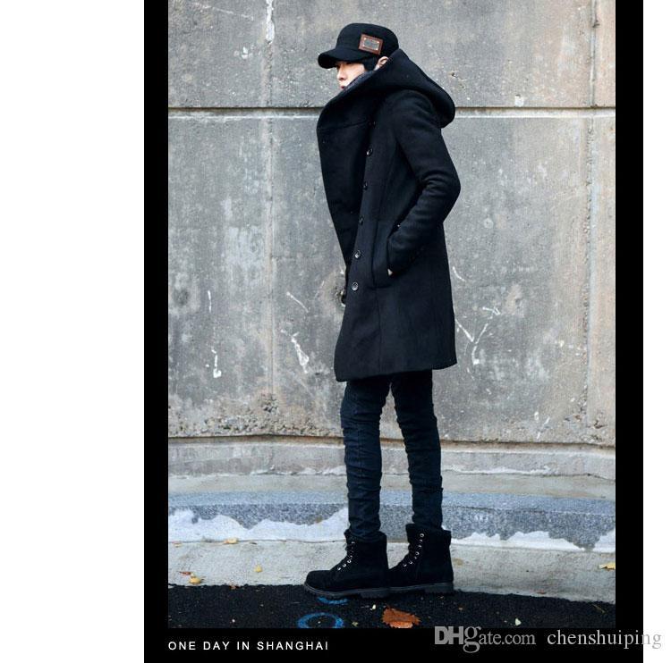 Zima Mężczyzna Long Wool Mieszanka Trench Coat Męska Kurtka Korei Koreański Styl Dla Mężczyzn Ciepła Sukienka Płaszcz 3 Kolory Plus Rozmiar