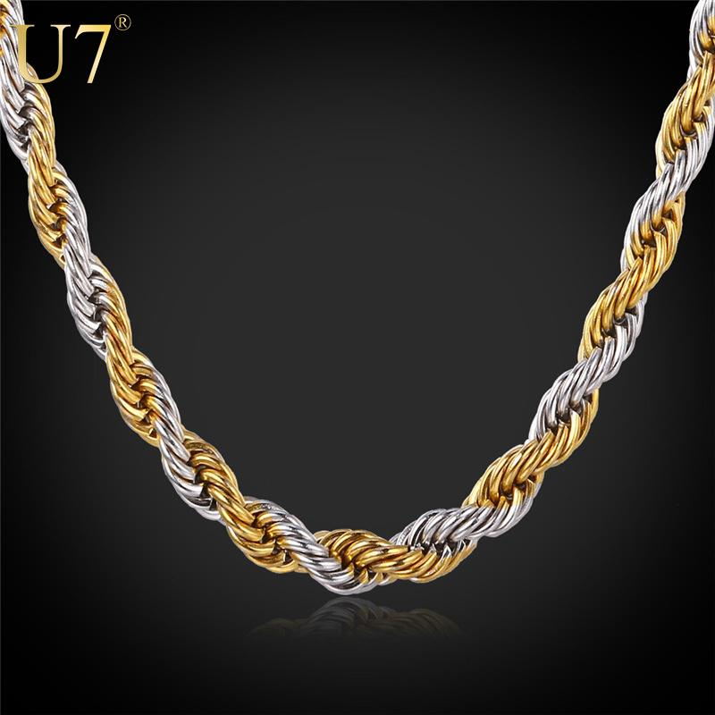 2018 Two Tone Gold Necklace 2016 New 18k Real Gold Plated Stainless ...