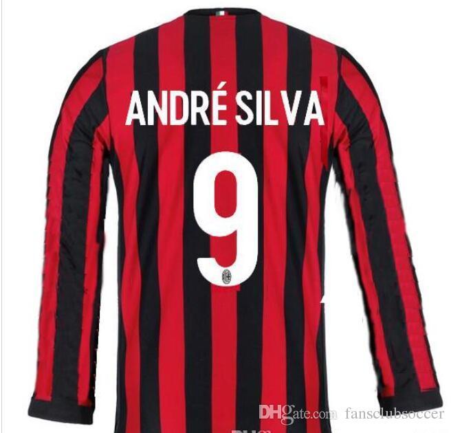 75fa59e2ea1 2019 2018 AC Milan Home Football Jersey 2017 18 AC Milan Long Sleeve Soccer Jerseys  17 18 BOUNCCI ANDRE SILVA CALHANOGLU Black Football Shirts From ...