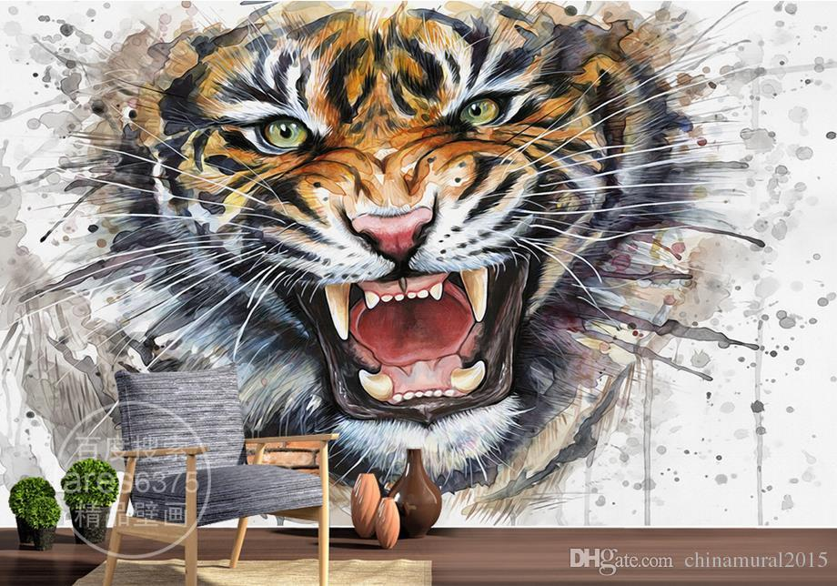 3d murales de pared wallpaper pintado a mano de tinta acuarela súper tridimensional pintura tigre wallpaper home decor