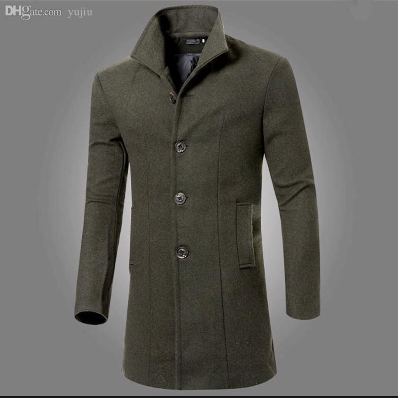 2019 Fall Men Fashion Solid Long Sleeve Coat Parka Overcoat Trench