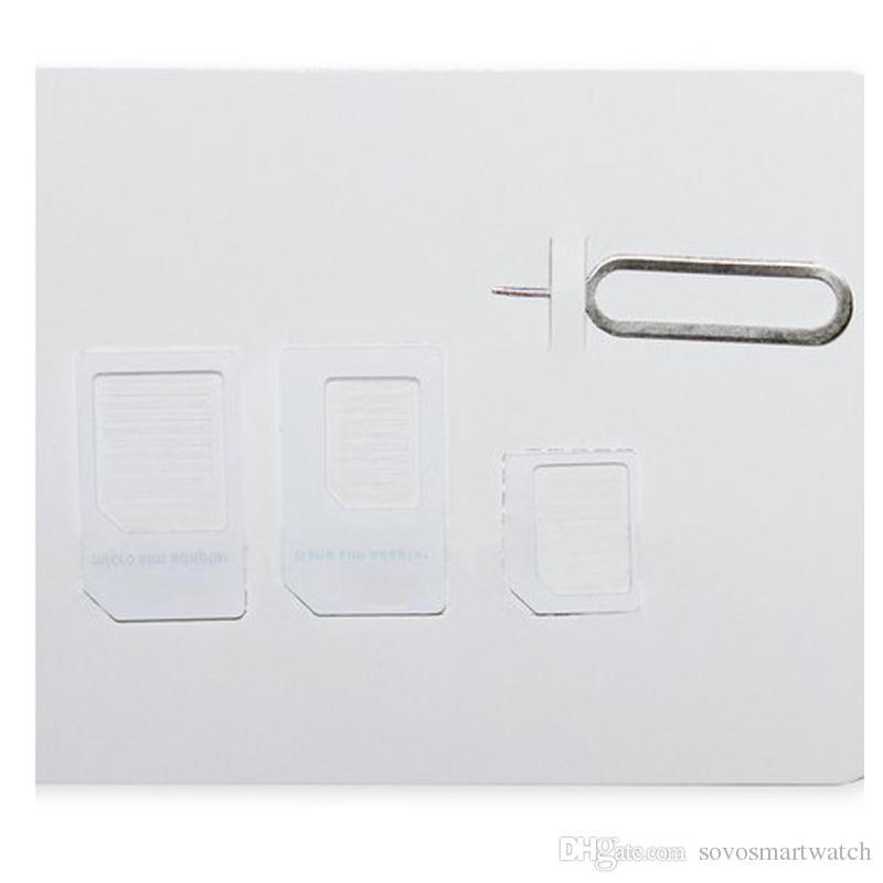 4 en 1 Adaptador de tarjeta SIM Bandeja Ranura Nano Tarjeta Micro SIM a Adaptador de Adaptador de Tarjeta Sim Estándar Set para iPhone 6 5 4S 4 con Expulsar Pin C06T1