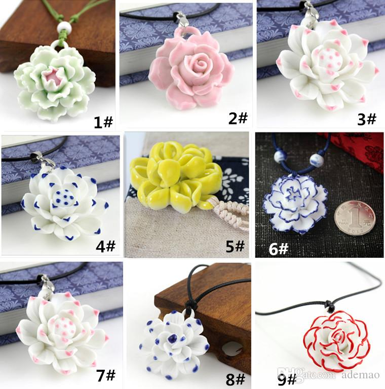 18 kindsFeatures elegant Unique Design Ceramic drill Pendant Necklaces Flowers Pendant Necklace Elegant Sweater Chain Good Gift