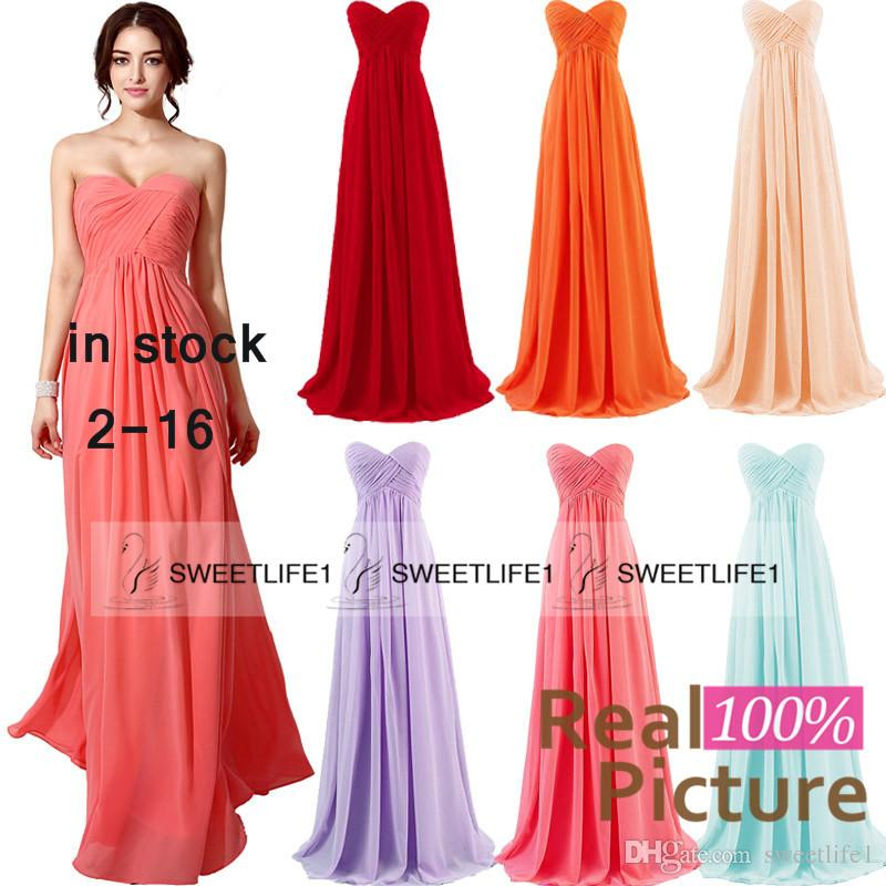 2015 In Stock Coral Bridesmaid Dresses Blush Mint Lilac Red Orange ...