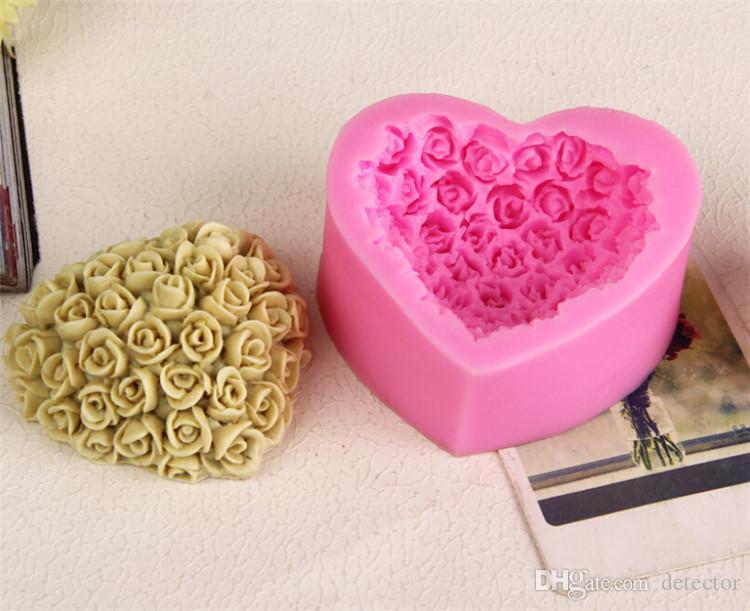 Hot 3D Silicone Rose fleur gâteau moule en forme de coeur chocolat bonbons moules savon glace rose moule à gâteau pour le cadeau de la Saint-Valentin