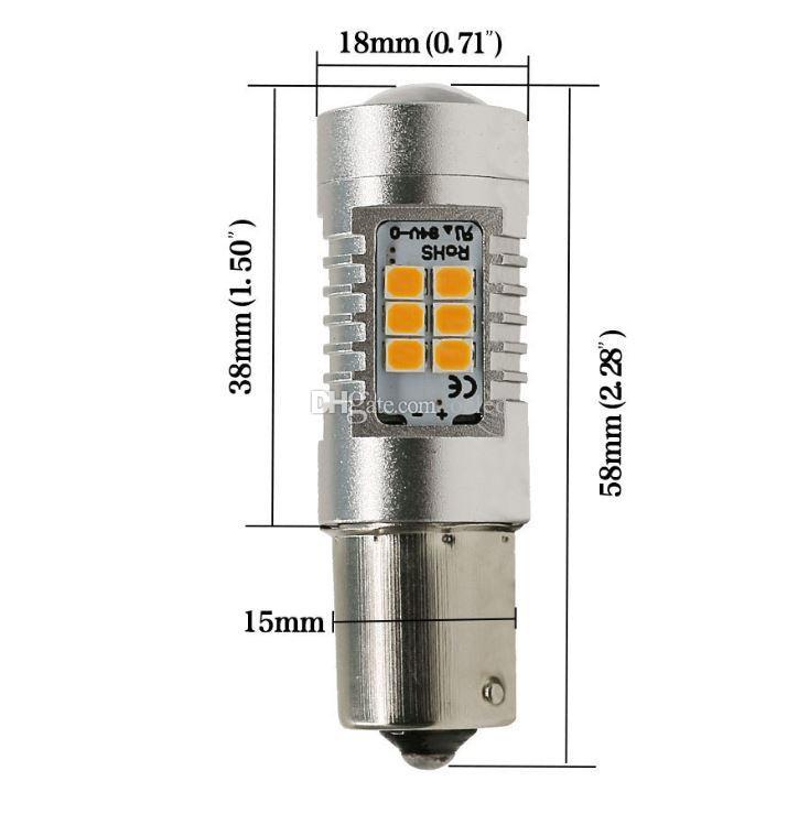 21 W Yüksekliği Parlak 1156 BAU15S BA15S 2835 SMD 21 LED Oto Araba Ters Ampul Dönüş Lambası Sis Farları Fren Dönüş Sinyali Ampul DC 12 V