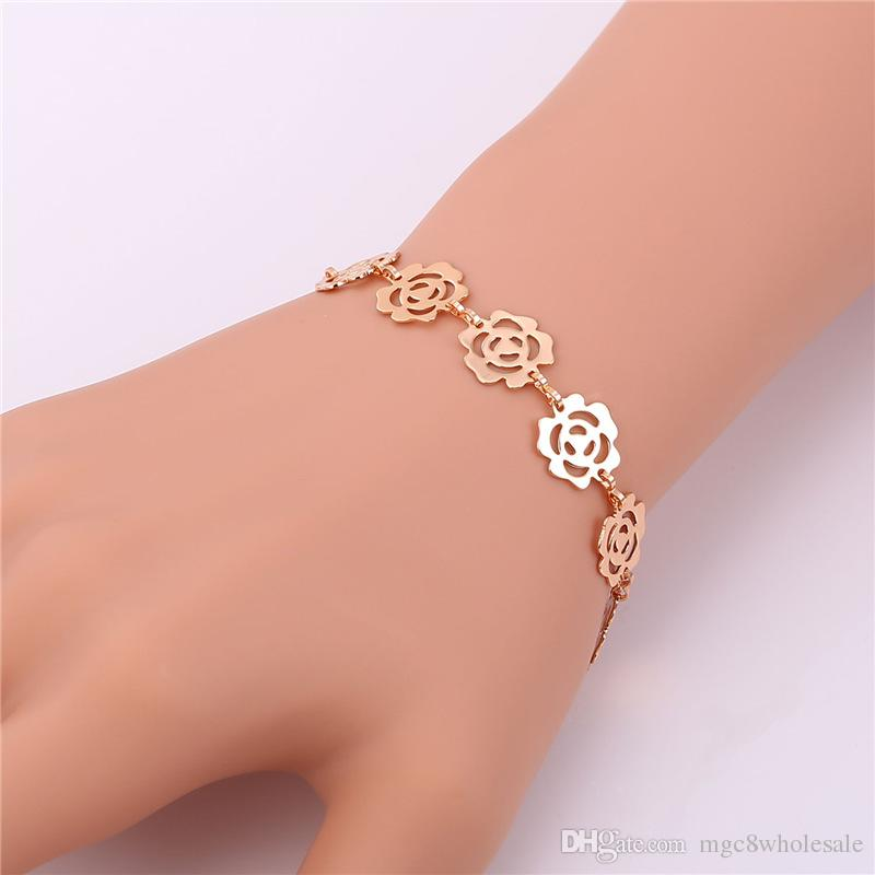 U7 Romantic Flower Chain Bracelet Trendy Platinum/18K Real/Rose Gold Plated Fashion Jewelry Perfect Gift For Women