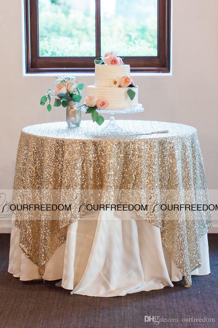 Exceptional Round Champagne Sequin Cloth Sequin TableCloth Wholesale Sequin Table  Cloths Sparkly Champagne Table Sequin Linens High Quality Custom Made
