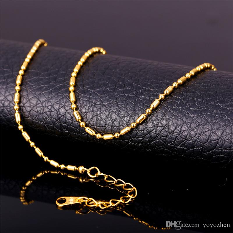 Unisex Gold Ball Chain to Match Pendants Platinum/18K Gold Plated Women Men Thin Bead Chain Necklace