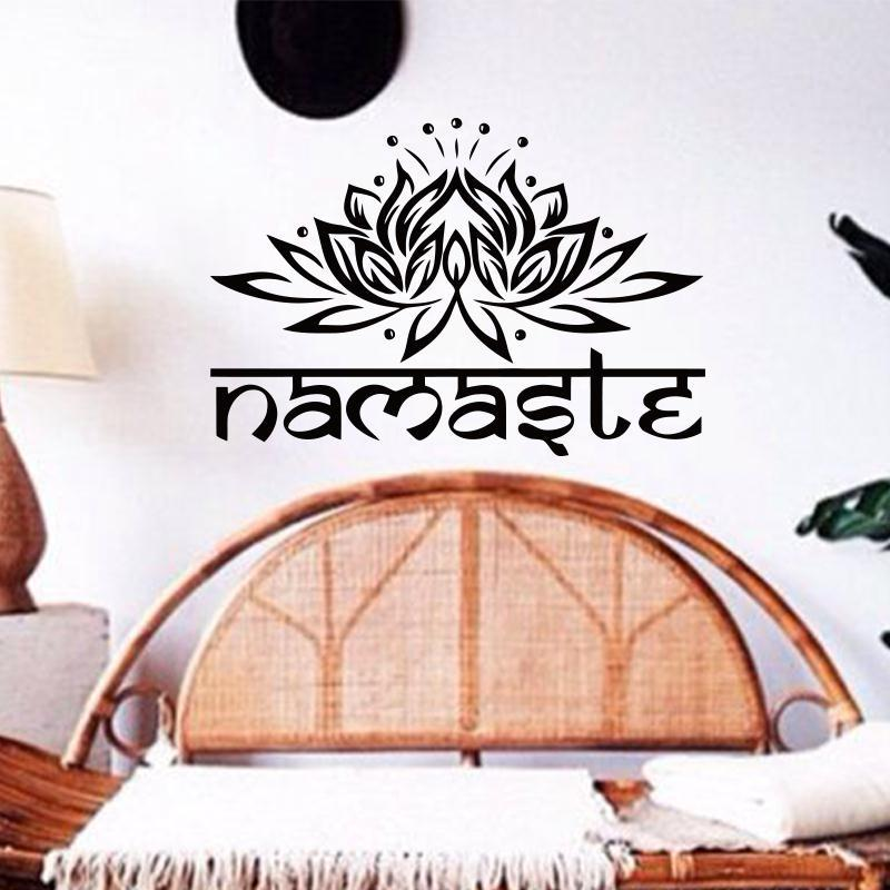 Art wall sticker indian namaste words religion wall decal vinyl lotus yoga sticker buddha ganesha home decor bedroom flower mural nursery room wall decals