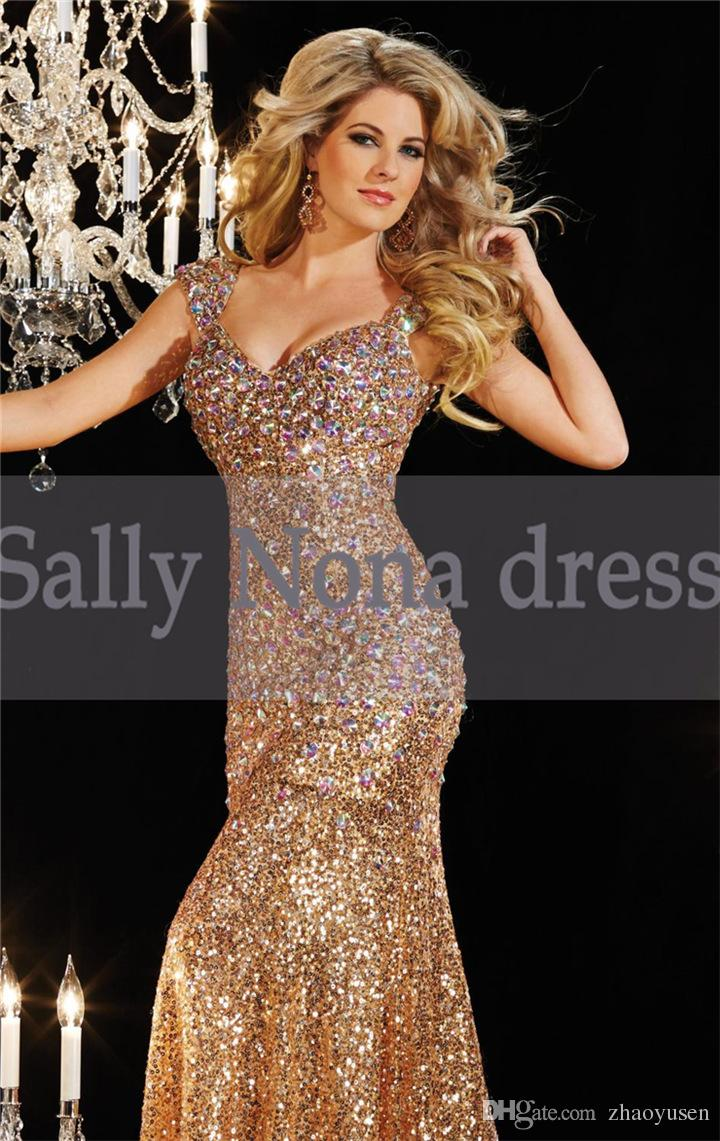 The new long slim backless nail drill deep V collar neck hanging bag hip fishtail evening party host toast dress