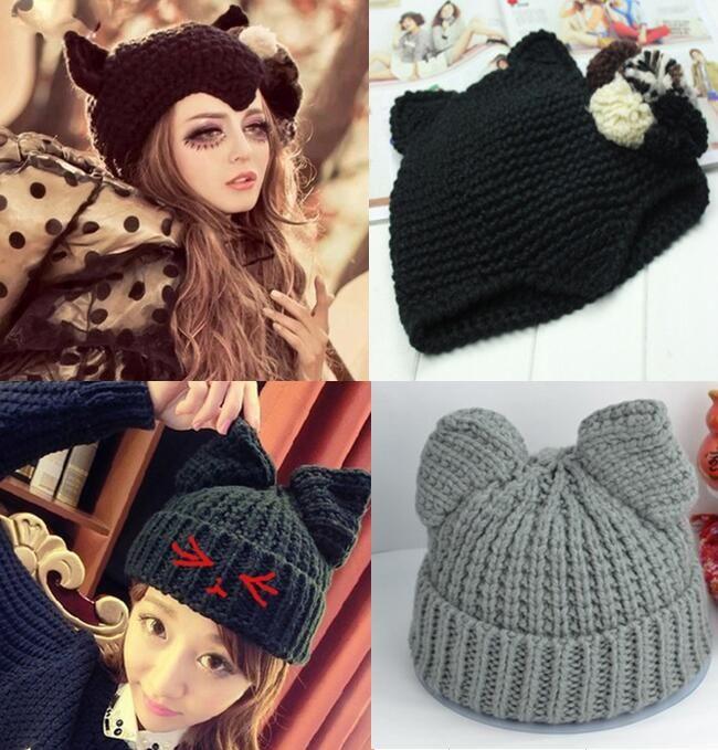 2 Arten Katzenohren-nette Hüte für die Frauenmarke, die warme koreanische Art und Weise 2016 heißer Verkauf reizende Mützen Winter gestrickte Kappe strickt
