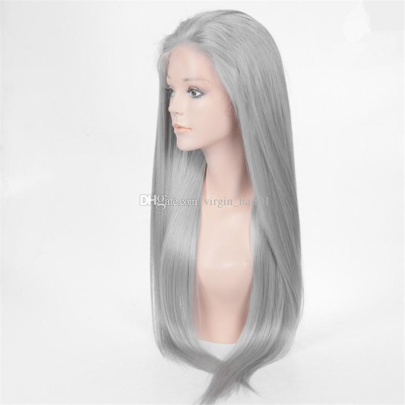100 ٪ باروكة شعر الإنسان رمادي كامل الرباط الباروكات الحرير مستقيم الجبهة الرباط باروكة شعر الإنسان البرازيلي العذراء شعر مستعار رمادي للنساء السود