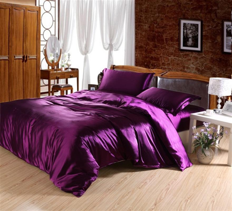 Bright Colored Luxurious Silk Cotton Queen Size Bed Linens Bedding ...