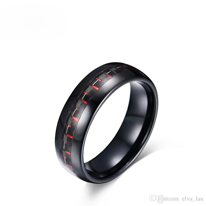 100% Tungsten Carbide Ring for Men 8mm Wide US Size 7-12 Retro Black & Red Carbon Fiber Mens Rings Wedding Bands