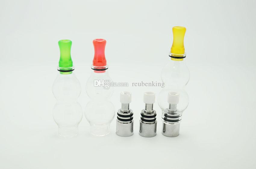 Newest double deck glass globe atomizer wax Vaporizer and glass tank replacement gourd type vapor for electronic cigaret