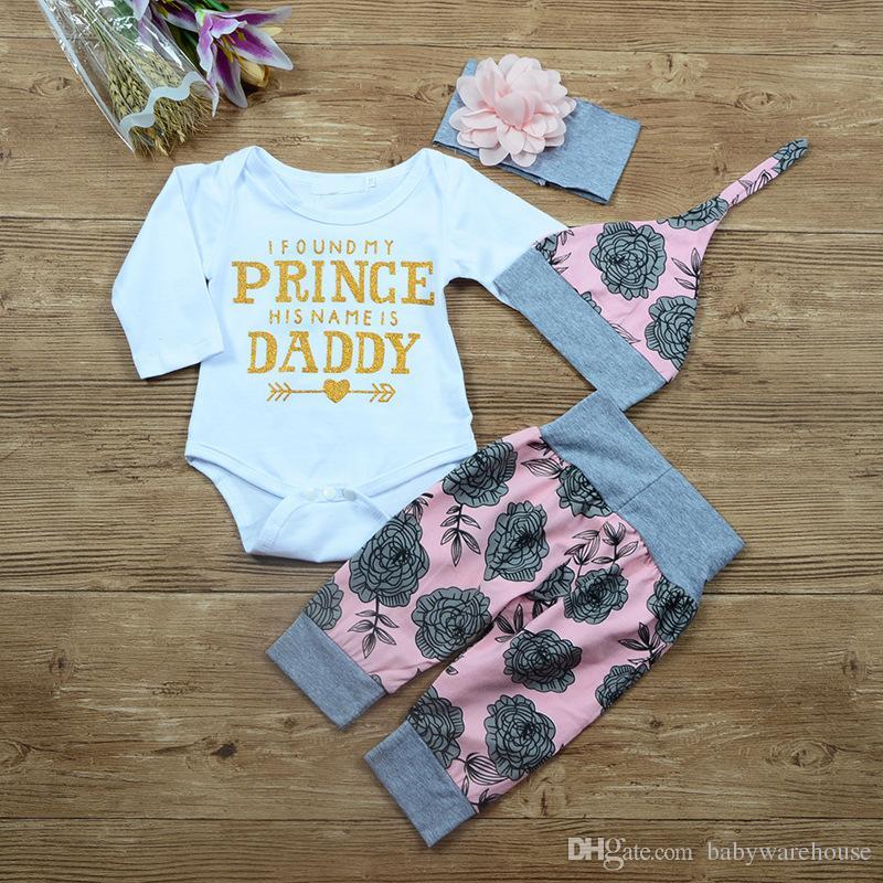 Neue Baby Mädchen Kleidung Set Frühling Herbst Brief gedruckt Baby Strampler + Floral Hosen Stirnband Hut Neugeborenen Kinder Kleidung Set