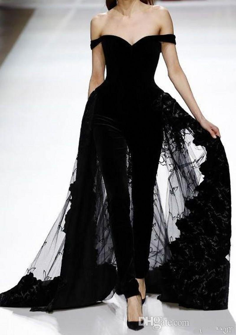2019 New Gorgeous Off Shoulder Black Jumpsuit Evening Dresses Beaded Appliqued Tulle Overskirts Red Carpet Dresses Formal Party Dress 237
