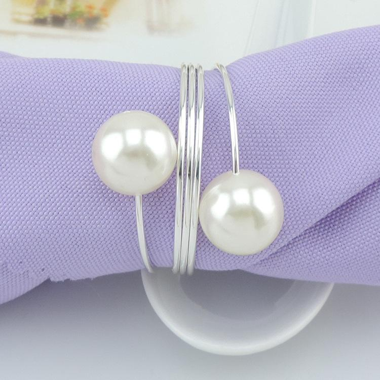 Elegant White Pearl Silver Napkin Rings For Wedding Party Reception Table Decorations Supplies