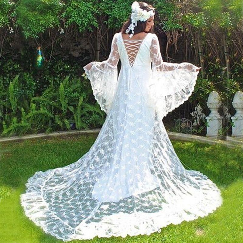 Vintage Medieval Wedding Gowns A Line Deep V Neck Long