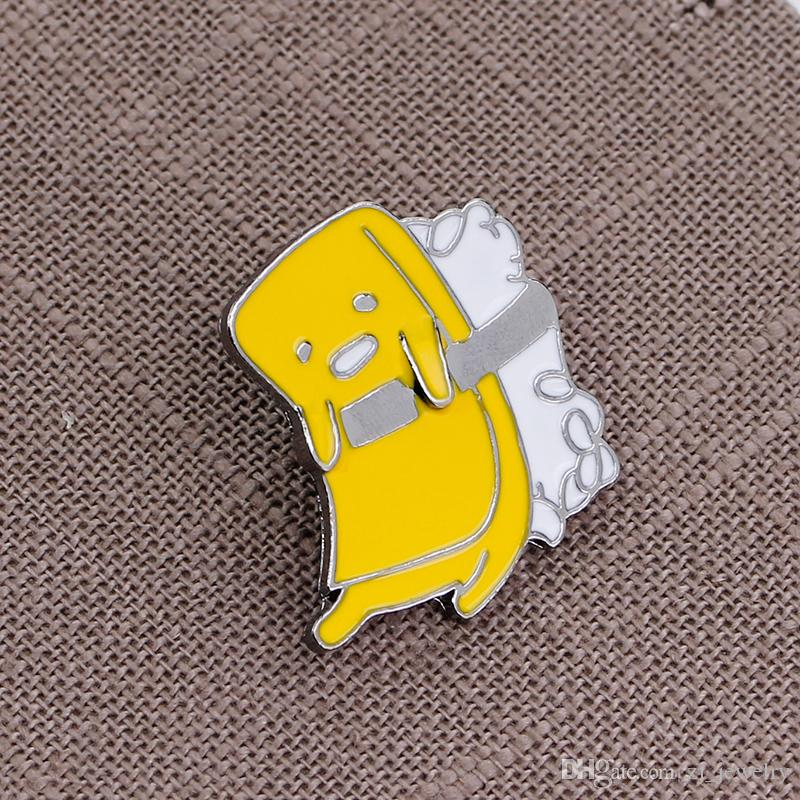 Sponge Brooches Pins Cartoon Character Brooch Yellow Enamel Pins Hard Enamel Pins Jacket Bag Cloth Badge Jewelry Christmas Gift
