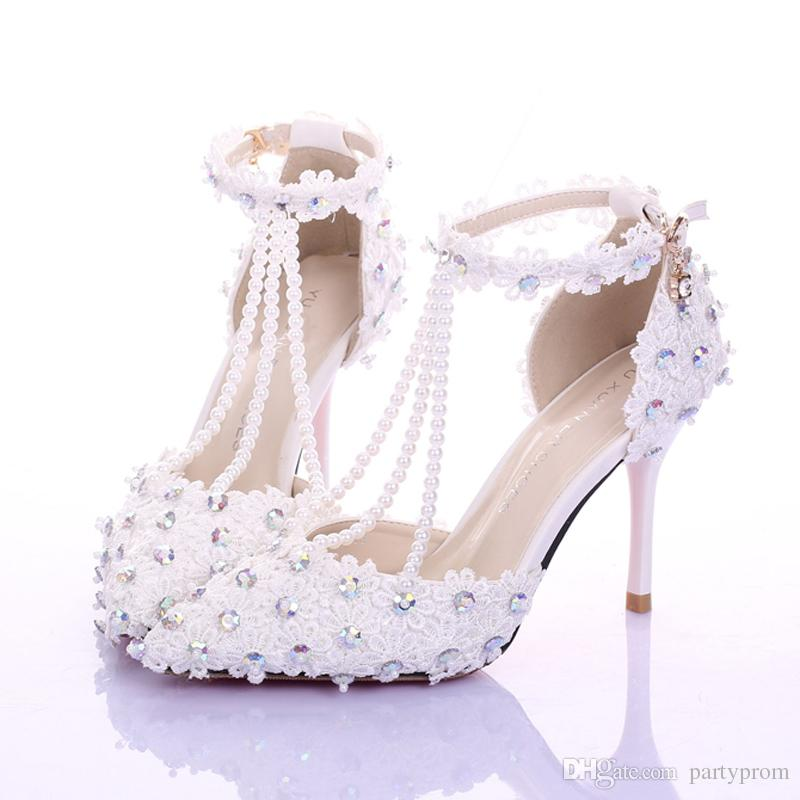 Elegant White Lace T Strap Wedding Shoes Genuine Leather