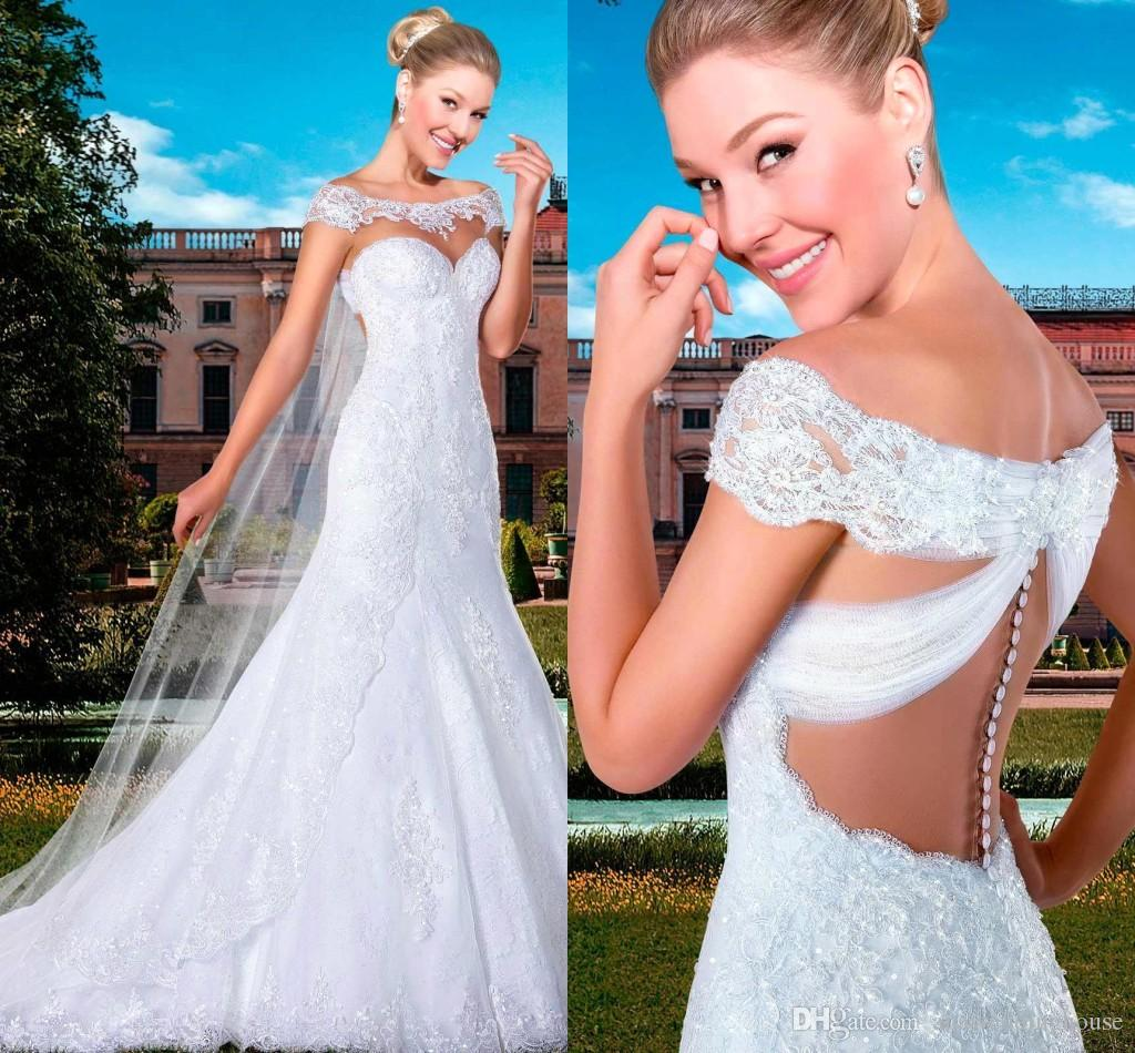 Romantic Lace Wedding Dresses With Applique A Line Sweep Train Sheer Neck High Quality Vintage Bridal Gowns Vestidos De novia