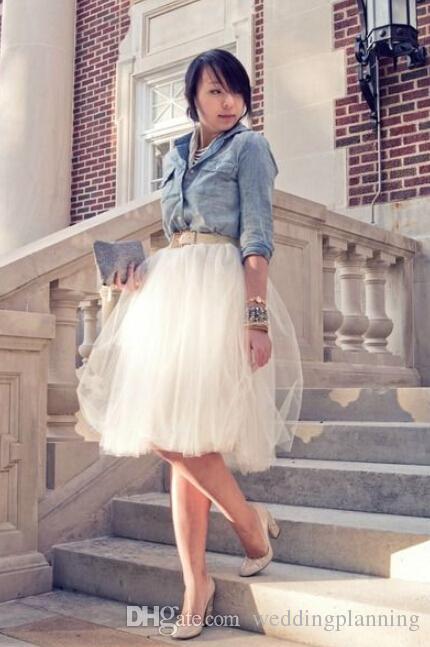 2015 짧은 흰색 투투 성인을위한 스커트 싸구려 튤레 맞춤형 A 라인 싼 파티 파티 Petticoat Underskirts Women Clothing Skits