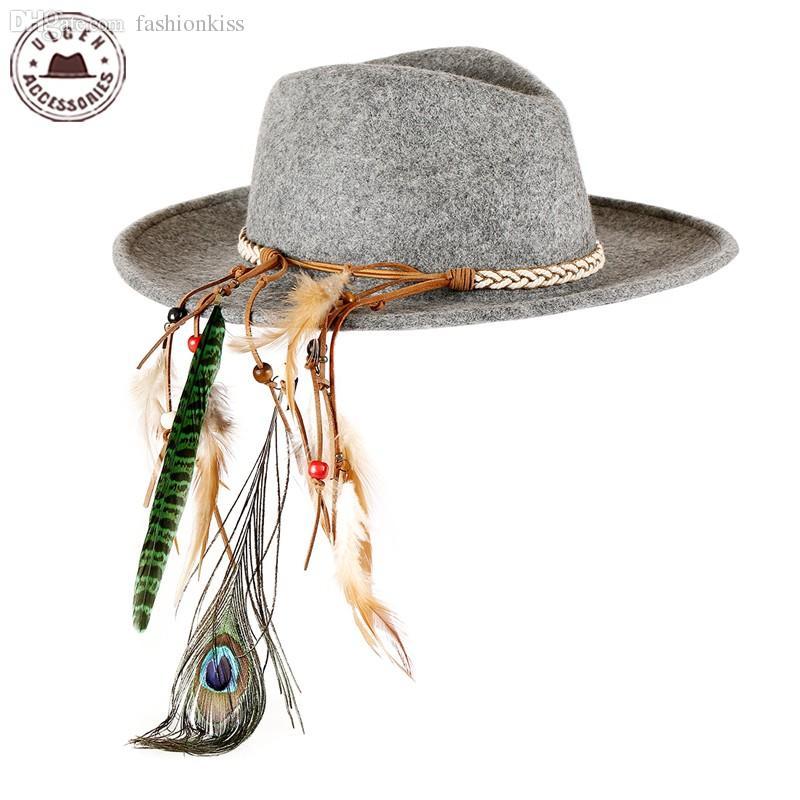0d7d8889255 2018 Wholesale Vintage Unisex Wool Jazz Hats Large Brim Felt Cowboy Panama Fedora  Hat For Women Feather Headband Black Grey Fedoras HUL176g From Fashionkiss  ...