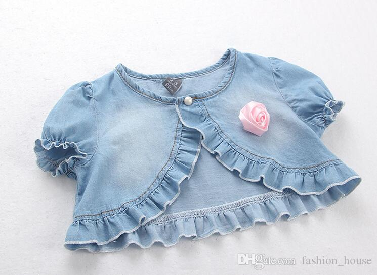 2015 Summer new Baby Casual Washed denim short Jackets Girls Cute rose Tops short sleeve shawl children clothing