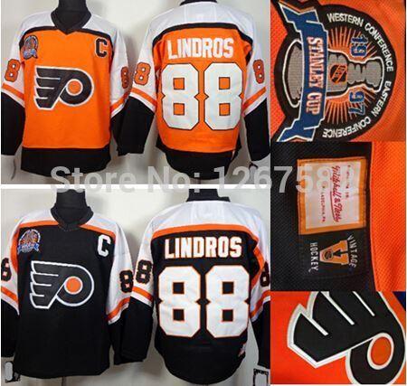 ... 1997 Stanley Cup CCM Vintage Philadelphia Flyers 88 Eric Lindros Orange Black  Throwback ... 4dbca38df
