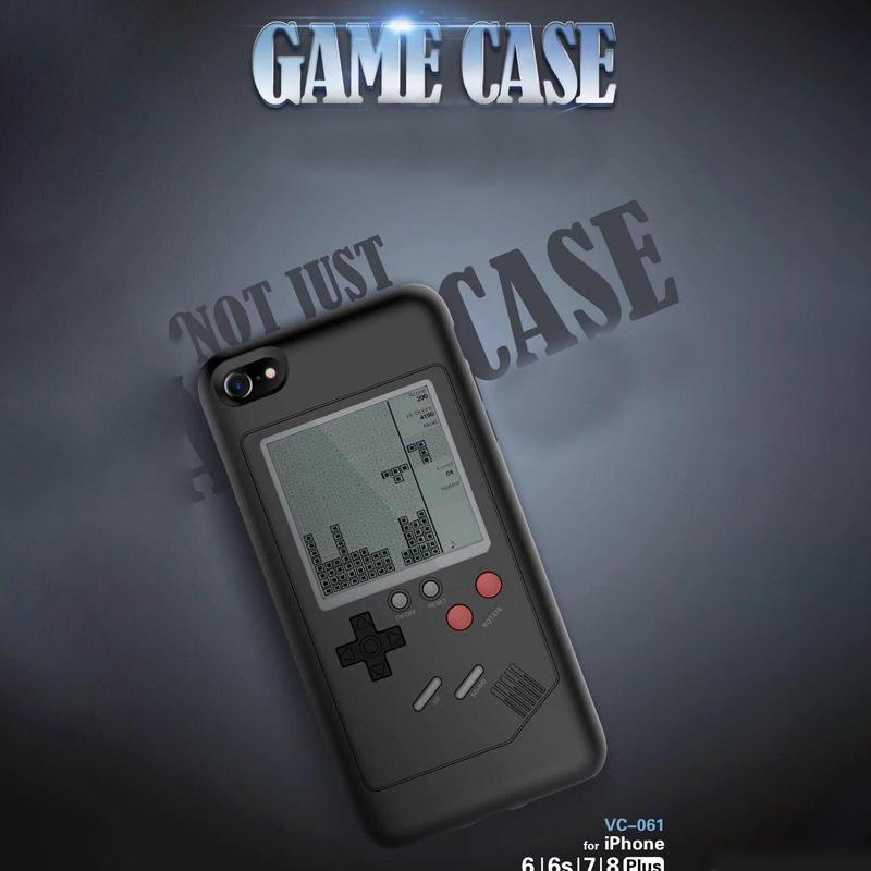 Funda de juego en blanco y negro para iPhone 8 8 más caja de juego de silicona TPU en 20 juegos incluye funda para máquina de juego con paquete al por menor