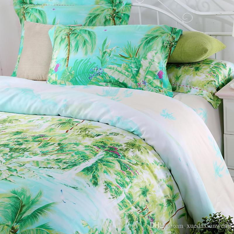 Lovely Blue Green Turquoise Bedding Sets Queen King Size Palm Tree Silk  CH57