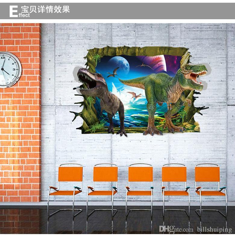 Оптовая 3D динозавр стены стикеры Home Decor стикер стены для детей номеров украшения дома обои наклейки на стены Бесплатная доставка