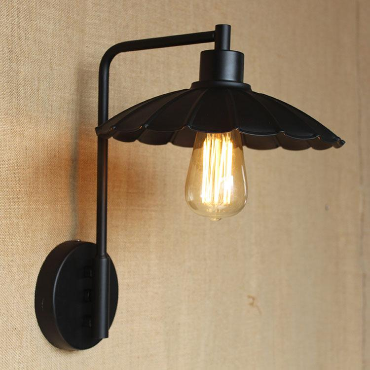 2017 Vintage Iron Wall Sconce Loft Lights Black Metal Umbrella Like Lampshade Long Arm E27 Led From Dpgkevinfan 3428