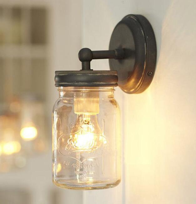 Mason wall lamps industrial retro wall lights home decoration lights mason wall lamps industrial retro wall lights home decoration lights indoor lighting glass jar lamps lampls online with 13813piece on crafts668s store aloadofball Image collections