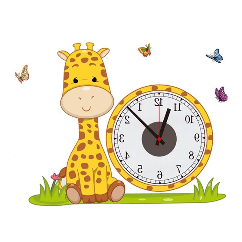 Hot Giraffe Diy Real Wall Sticker Electron Clocks Home Decoration ...