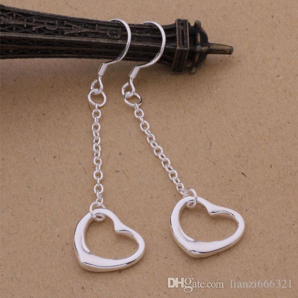 Moda fabricante de la joyería 40 piezas mucho colgantes pendientes de un corazón 925 fábrica de joyería de plata de ley Brillo de moda pendientes