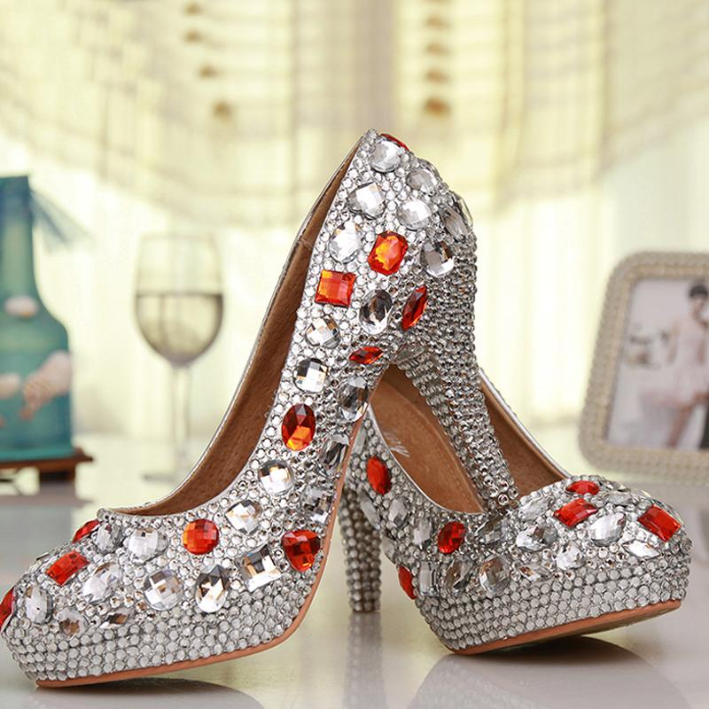 Luxury Handmade Silver Rhinestone Red Crystal Wedding Shoes Round Toe High Heel Bridesmaid Shoes Prom High Heels