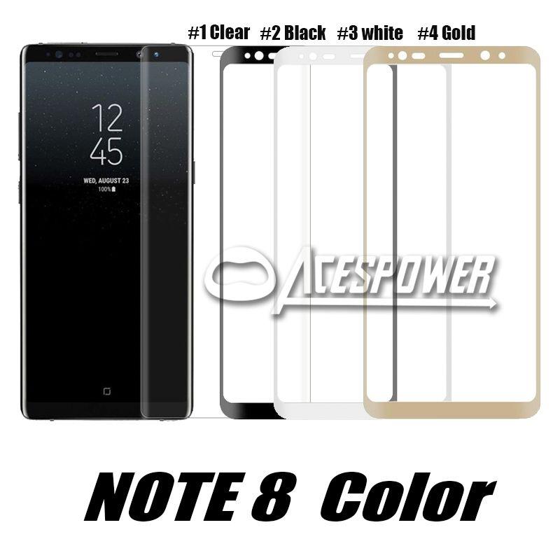 Para Iphone 11 Pro Max Samsung S10 S9 S8 Nota 10 Plus Galaxy Nota 9 vidrio templado color de la pantalla protector completo 3D curvo